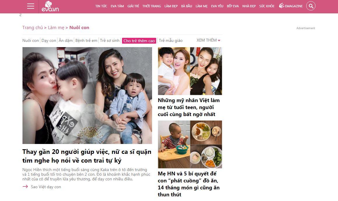 Website mẹ và bé Eva