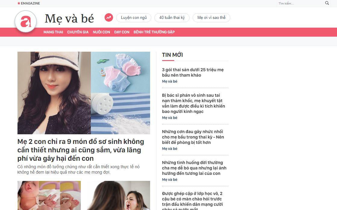 Website cho mẹ và bé Afamily