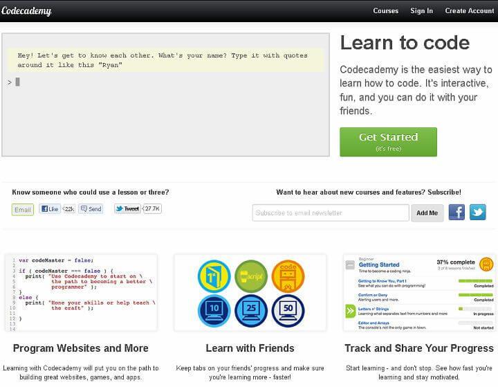 Trang web học online Codecademy
