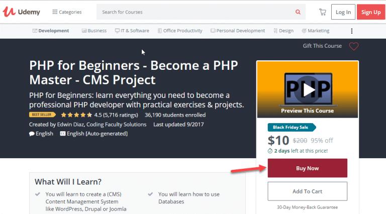 Trang web học lập trình trực tuyến Udemy